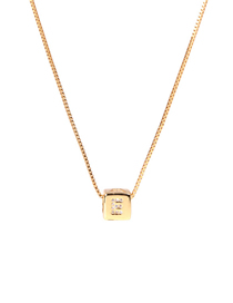 Fashion Golden E Letter Cube Dice Zircon Clavicle Necklace