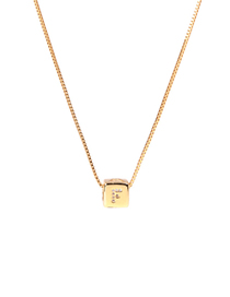 Fashion Golden F Letter Cube Dice Zircon Clavicle Necklace