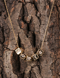 Fashion Golden Three-dimensional Micro-set Zircon Small Square Star And Moon Necklace