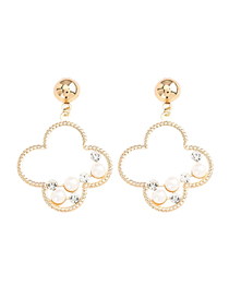Fashion Golden Geometric Flower Alloy Acrylic Earrings With Diamonds And Pearls