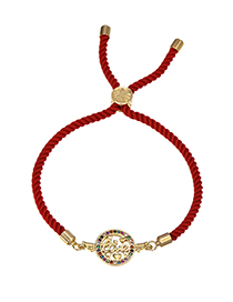 Fashion Red Copper Inlaid Zircon Braided Rope Wings Love Bracelet