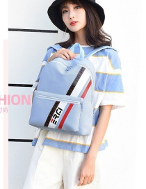 Fashion Lake Blue Nylon Wear-resistant Printed Backpack