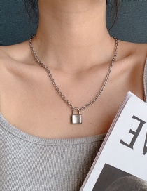 Fashion Silver Stainless Steel Lock Chain Necklace