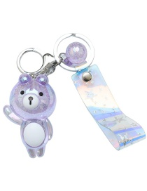 Fashion Purple Ice Flower Resin Bear Keychain