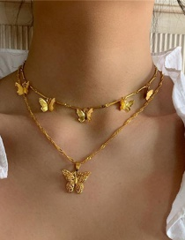 Fashion Golden Alloy Multilayer Hollow Butterfly Necklace