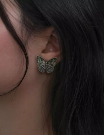 Fashion Ancient Gold Flower Butterfly  Silver Pin Stud Earrings