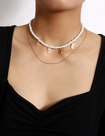 Fashion Golden Letter Love Imitation Pearl Chain Double Necklace