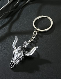 Fashion Horned Bull Head Bull Head Metal Geometric Keychain