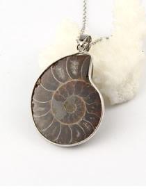 Fashion Purple Natural Stone Irregular Snail Fossil Necklace