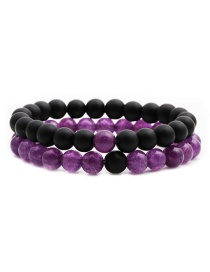 Fashion Frosted Amethyst Suit (8mm) Matt Black Stone Amethyst Beaded Elastic Bracelet