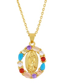 Fashion Oval Love Geometric Diamond Hollow Virgin Mary Necklace