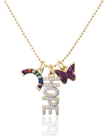 Fashion Gold Plated Zirconium Copper Plated Butterfly Hope Color Zircon Combined Necklace Necklace