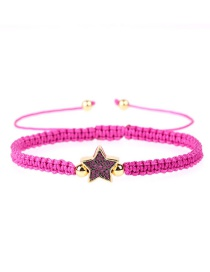 Fashion Red Star Braided Rope Is Plated With Genuine Gold: Diamond Studded Star Bracelet.