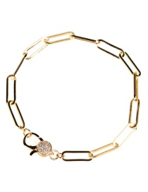 Fashion Golden Gold Plated Zircons Bracelet In Rough Chain