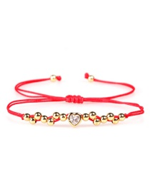 Fashion Love Red Beads Of Love Woven Micro Bracelet Of Zircon