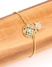Fashion Golden Copper Plated Gold Plated Sapphire Pineapple Bracelet