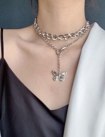 Fashion Silvery Double Decked Butterfly Necklace