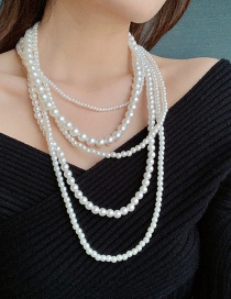 Fashion White Multi Layer Pearl Beads Necklace