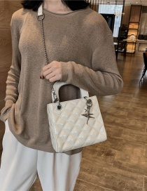 Fashion White Diamond Chain Slanting Shoulder Bag