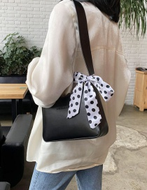 Fashion Black Wide Shoulder Strap Ribbon Ribbon Bow Shoulder Bag