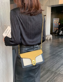 Fashion Yellow Color Matching Stitching Chain Single Shoulder Bag