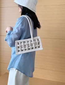 Fashion White Hollowed Woven Mesh Handbag
