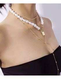 Fashion Golden Alloy Chain Pearl Lock Fringes Multi Layer Necklace