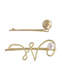 Fashion Golden Alloy Electroplated Pearl Hollowed Hairpin Set