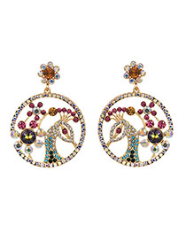 Fashion Colour Alloy Drilling With Peacock Head Earrings