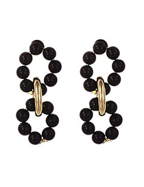 Fashion Black Alloy Resin Bead Ring Ear Earrings