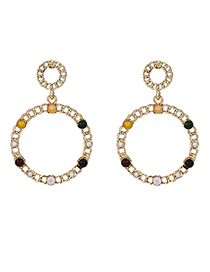Fashion Golden Alloy Chain Round Ear Earrings