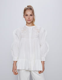 Fashion White Embroidered Sleeve Shirt With Hollowed Embroidery