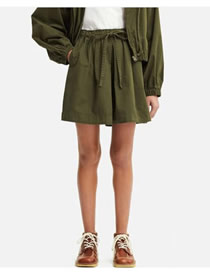 Fashion Army Green Elastic Shorts And Loose Shorts
