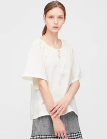 Fashion White Fringed Pleated Hollow Fringed Short Sleeves