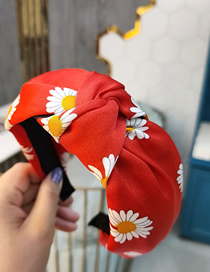 Fashion Big Red Small Daisy Printed Knotted Broadside Headhoop
