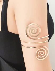 Fashion Golden Alloy Hollow Geometric Pattern Metal Armband