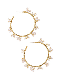 Fashion Golden Alloy Pearl Round Earrings