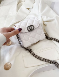Fashion White Rough Chain Flip Flip Shoulder Bag