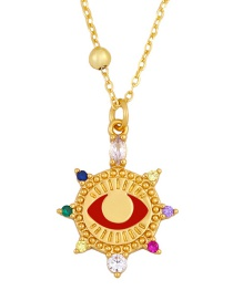 Fashion Red Copper-set Zircon Round Eyes Diamond Necklace
