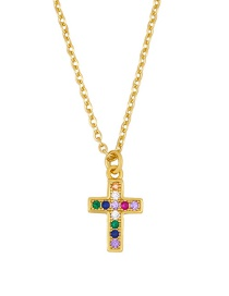 Fashion Cross Gold Micro-set Color Zircon Cross Crown Necklace