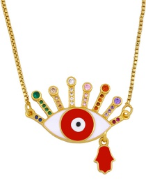 Fashion Red Copper-set Zircon Dripping Eye Palm Necklace