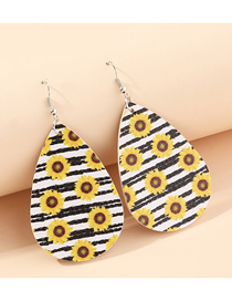 Fashion Sunflower Black And White Litchi Print Water Drop Pu Leather Sunflower Flower Butterfly Earrings
