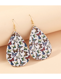 Fashion Butterfly Litchi Print Water Drop Pu Leather Sunflower Flower Butterfly Earrings