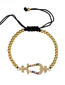 Fashion Hna Copper-set Zircon Rope Beaded Adjustable Bracelet