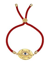 Fashion Eye Copper-set Zircon Red Cord Adjustable Bracelet