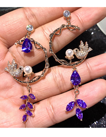 Fashion Purple Pearl Bird Micro-set Zircon Geometric Earrings