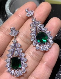 Fashion Green Drop-shaped Emerald Micro-set Zircon Hollow Earrings