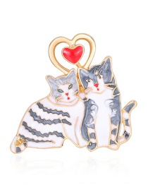 Fashion Colour Alloy Dripping Love Cat Brooch