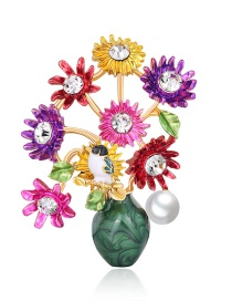 Fashion Colour Bird Brooch With Alloy Diamonds And Pearl Flowers