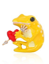Fashion Yellow Alloy Dripping Frog And Diamond Contrast Brooch